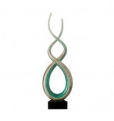 Skulptur Rotate 48 cm weiß/türkis