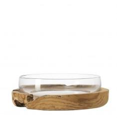 Schale Terra mit Teaksockel 39 cm klar